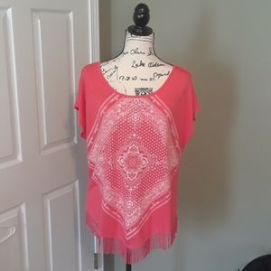 Coral and white top